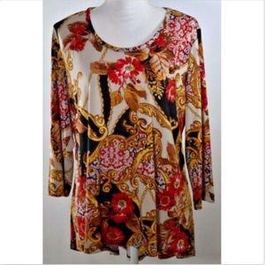 Susan Graver women's blouse large top shirt print